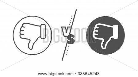 Thumbs Down Finger Sign. Versus Concept. Dislike Hand Line Icon. Gesture Symbol. Line Vs Classic Dis