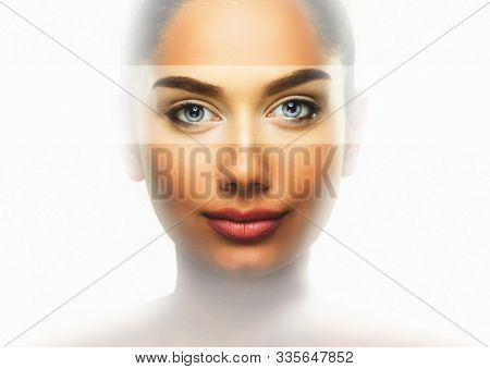Beauty eye care concept - clean face of woman over white background