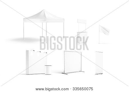 Blank White Promotion Trade Stand Mockup Set Isolated, 3d Rendering. Empty Booth And Tent For Compan