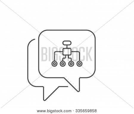 Restructuring Line Icon. Chat Bubble Design. Business Architecture Sign. Delegate Symbol. Outline Co