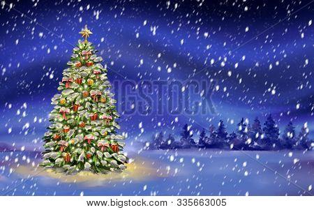 Christmas Night, Christmas Tree On Winter Background, Decorative Christmas Wallpaper, Art Illustrati
