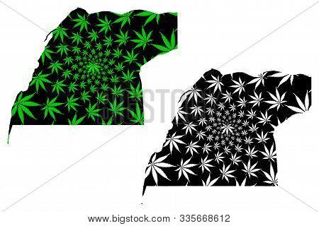 Dakhla Oued Ed Dahab Region (kingdom Of Morocco, Regions) Map Is Designed Cannabis Leaf Green And Bl