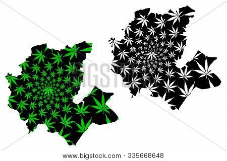 Fes-Meknes Region (Kingdom of Morocco, Regions of Morocco) map is designed cannabis leaf green and black, Fas Meknas map made of marijuana (marihuana,THC) foliage poster