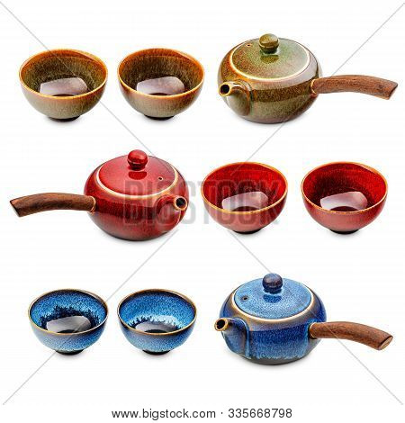 Design Set With Group Of Various Japanese Teapots And Cups