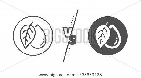 Organic Tested Sign. Versus Concept. Mineral Oil Line Icon. Water Drop Symbol. Line Vs Classic Miner