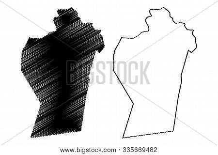 Ad Dhahirah Governorate (sultanate Of Oman, Governorates Of Oman) Map Vector Illustration, Scribble