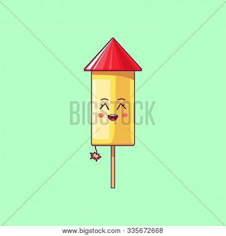 Cartoon Kawaii Firework With Grinning Face. Cute Firework Rocket With Burning Fuse, Festive Characte