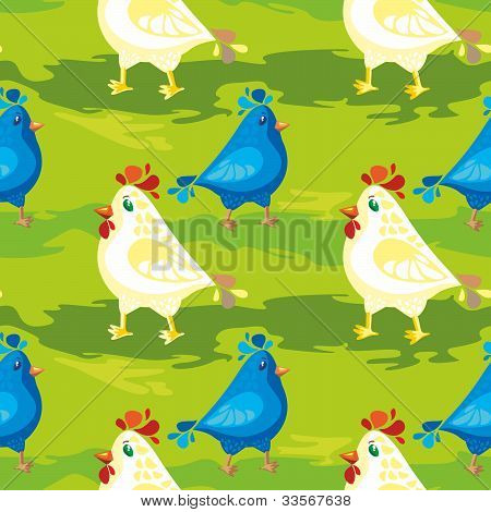 Cartoon Bllue Bird And Hen