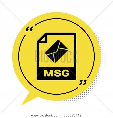 Black Msg File Document. Download Msg Button Icon Isolated On White Background. Msg File Symbol. Yel