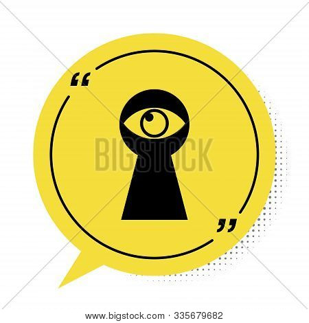 Black Keyhole With Eye Icon Isolated On White Background. The Eye Looks Into The Keyhole. Keyhole Ey