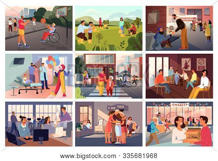 Volunteer Help People Set. Collection Of Charity Community