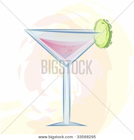 Vector illustration of pink cocktail in a sparkling glass