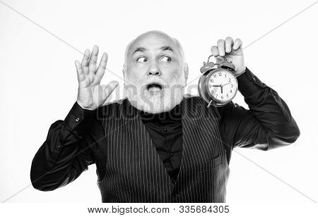 Counting Time. Time Management. Business Startup. Mature Man With Beard Clock Show Time. Mature Bear