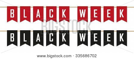 Black Week Sale Flags Banner On White Background Vector Illustration Eps10