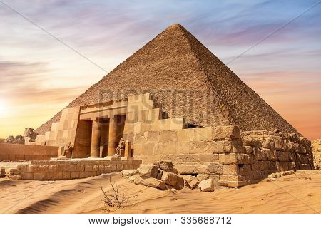 The Pyramid Of Cheops And The Temple Entrance, Giza, Egypt