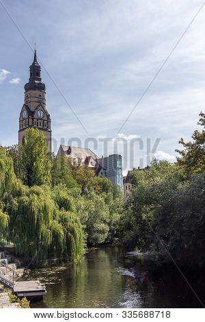 View Of Historic And Modern Buildings And Churches On The Karl Heine Canal In Leipzig / Germany With