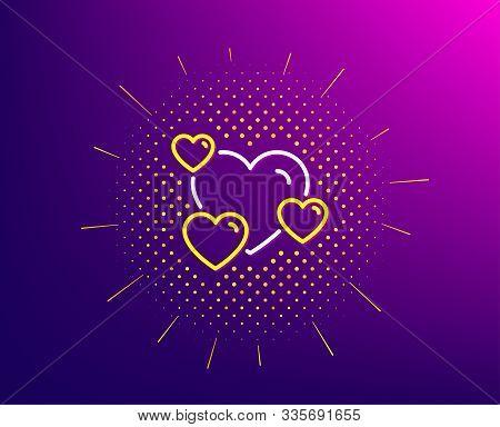 Hearts Line Icon. Halftone Pattern. Favorite Like Sign. Positive Feedback Symbol. Gradient Backgroun