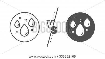 Rain Sign. Versus Concept. Rainy Weather Forecast Line Icon. Water Drops Symbol. Line Vs Classic Rai