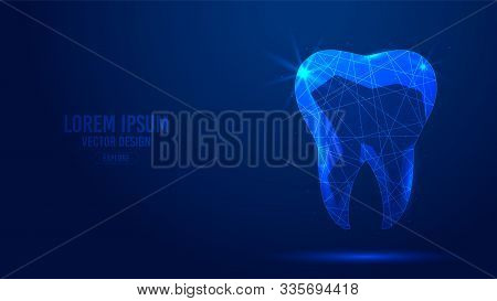 Human Tooth, Dental Implant Geometric Lines, Low Poly Style Wireframe Vector Banner Template. Isolat