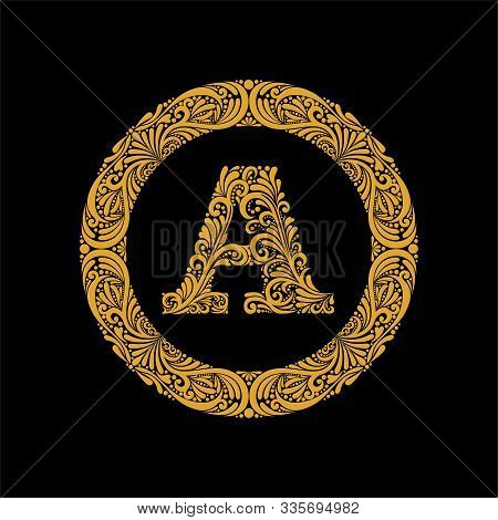 Premium, Elegant Capital Letter A In A Round Frame Is Made Of Floral Ornament. Baroque Style.elegant