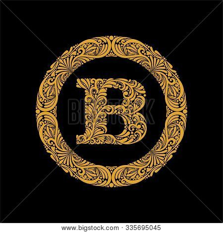 Premium, Elegant Capital Letter B In A Round Frame Is Made Of Floral Ornament. Baroque Style.elegant
