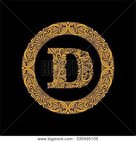Premium, Elegant Capital Letter D In A Round Frame Is Made Of Floral Ornament. Baroque Style.elegant