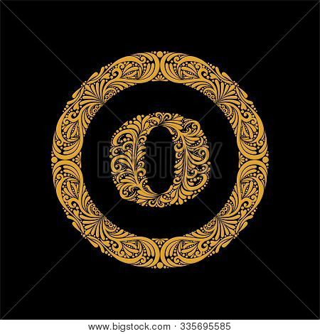 Premium, Elegant Capital Letter O In A Round Frame Is Made Of Floral Ornament. Baroque Style.elegant