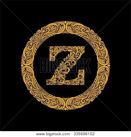 Premium, Elegant Capital Letter Z In A Round Frame Is Made Of Floral Ornament. Baroque Style.elegant
