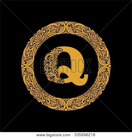 Premium, Elegant Capital Letter Q In A Round Frame Is Made Of Floral Ornament. Baroque Style.elegant