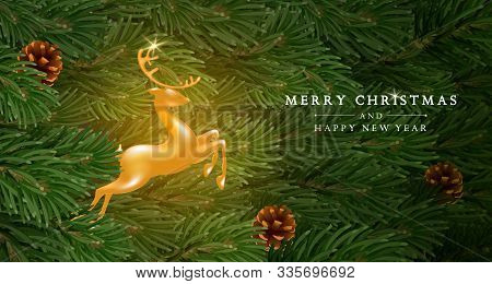Merry Christmas And Happy New Year Greeting Card Template. Golden Figure Of A Jumping Deer Among Fir