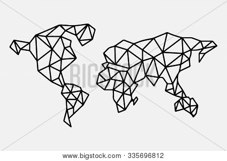 Earth Planet Abstract Map Of The World. Poligonal Line Triangle Art. Isolated Vector Illustration Fo