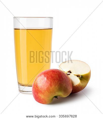 glass of Apple juice on a white background