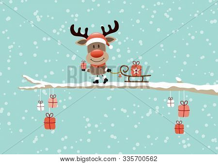 Reindeer With Sleigh On Bough Sky Turquoise