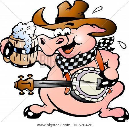 Hand-drawn Vector Illustration Of An Pig Playing Banjo