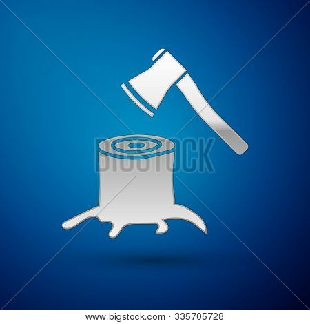Silver Wooden Axe In Stump Icon Isolated On Blue Background. Lumberjack Axe. Axe Stuck In Wood. Vect