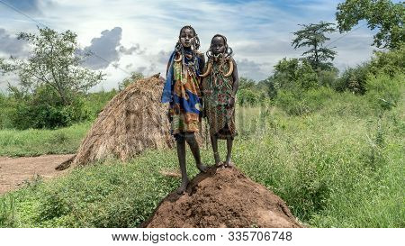 Mago National Park, Omo River Valley, Ethiopia - September 2017: Two Mursi Tribe Girls From Ethiopia