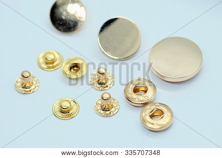 Metal Button For Clothes, Gold Color. Sewing Accessories For Outerwear Production. Components Of The
