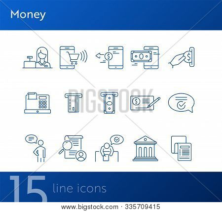 Money Icons. Set Of Line Icons On White Background. Bank Check, Card Reader, Online Shopping. Bankin