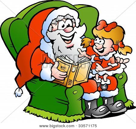Hand-drawn Vector Illustration Of An Santa Claus Tells A Story To An Little Girl