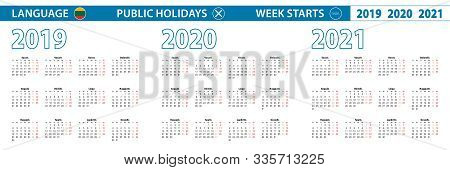 Simple Calendar Template In Lithuanian For 2019, 2020, 2021 Years. Week Starts From Monday. Vector I