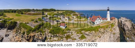Portland Head Lighthouse Panorama Aerial View In Summer, Cape Elizabeth, Maine, Me, Usa. This Lighth