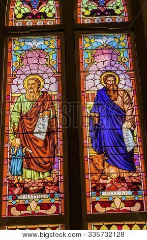 San Antonio, Texas - October 6, 2019 Saints Luke Matthew Gospel Writers Stained Glass San Fernando C