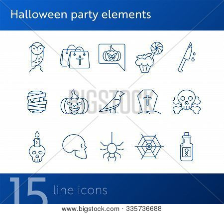 Halloween Party Elements Icons. Skull, Ghost, Crow. Halloween Concept. Vector Illustration Can Be Us