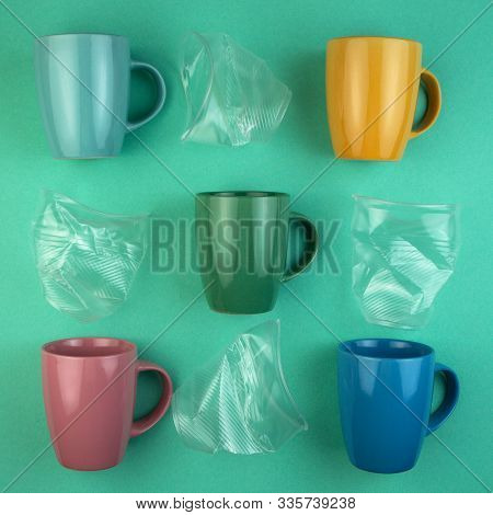 Ecology Concept Stop Plastic Pollution. Plastic Waste. Pattern From Ceramic Mugs And Plastic Cups.