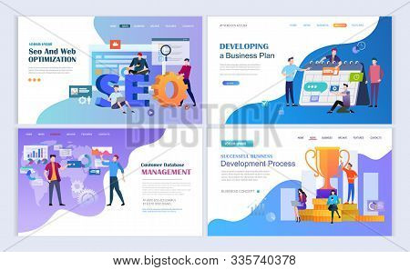 Landing Pages Template Set For Seo And Web Optimization, Database Management, Business Development P