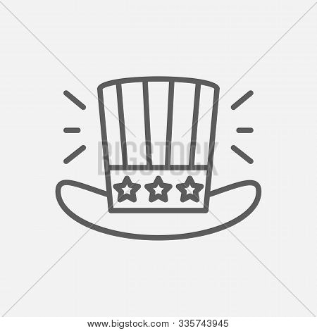 Uncle Sam Hat Icon Line Symbol. Isolated Vector Illustration Of Icon Sign Concept For Your Web Site