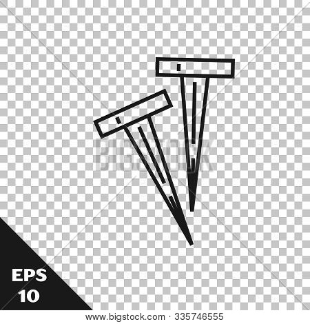 Black Line Pegs For Tents Icon Isolated On Transparent Background. Extreme Sport. Sport Equipment. V
