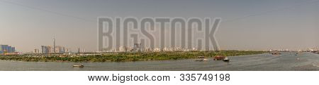 Ho Chi Minh City, Vietnam - March 13, 2019: Evening Panorama Shot Over Song Sai Gon River Onto The N