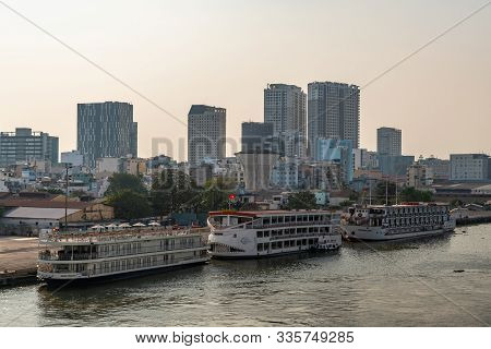 Ho Chi Minh City, Vietnam - March 13, 2019: Song Sai Gon River. River Cruise Boats Docked Near Downt