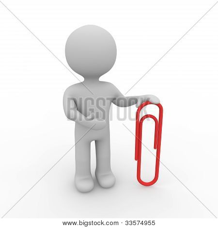 Grey Figure With Paper Clip